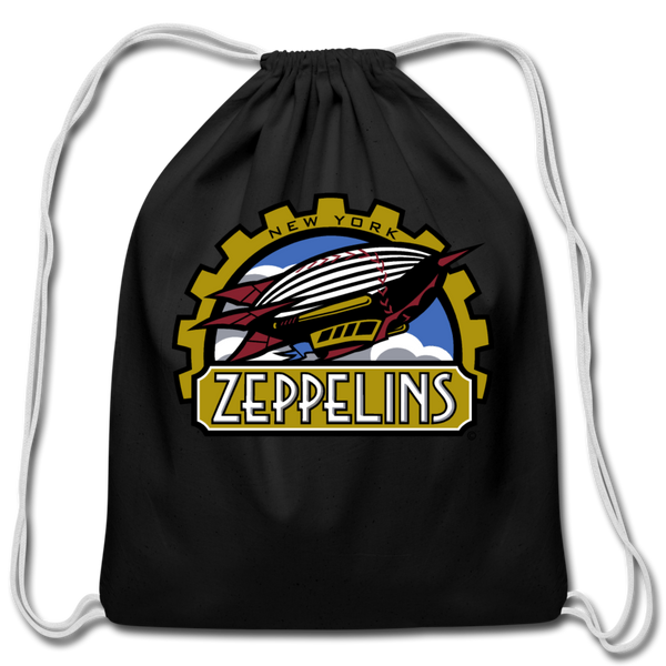 New York Zeppelins Cotton Drawstring Bag - black