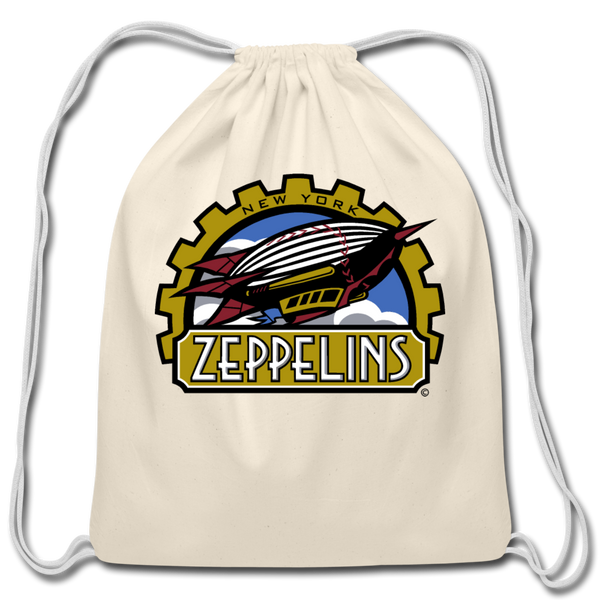 New York Zeppelins Cotton Drawstring Bag - natural