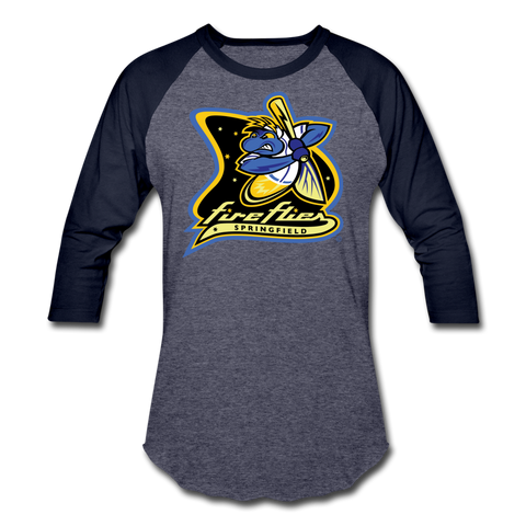 Springfield Fireflies Unisex Baseball T-Shirt - heather blue/navy