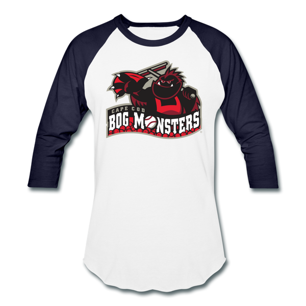 Cape Cod Bog Monsters Unisex Baseball T-Shirt - white/navy