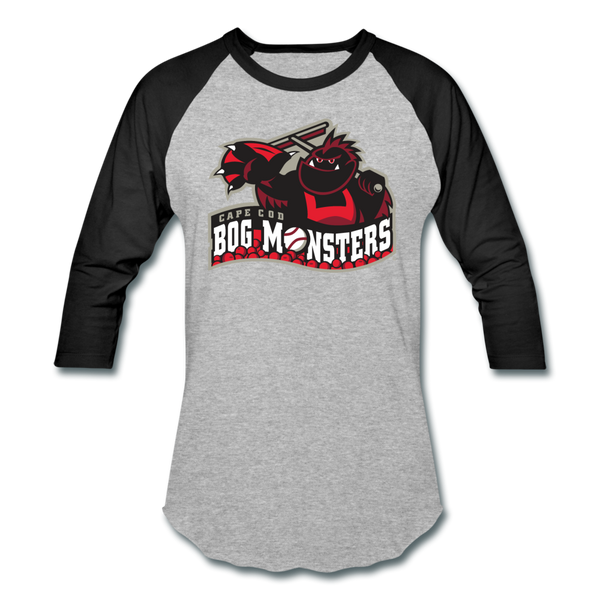 Cape Cod Bog Monsters Unisex Baseball T-Shirt - heather gray/black