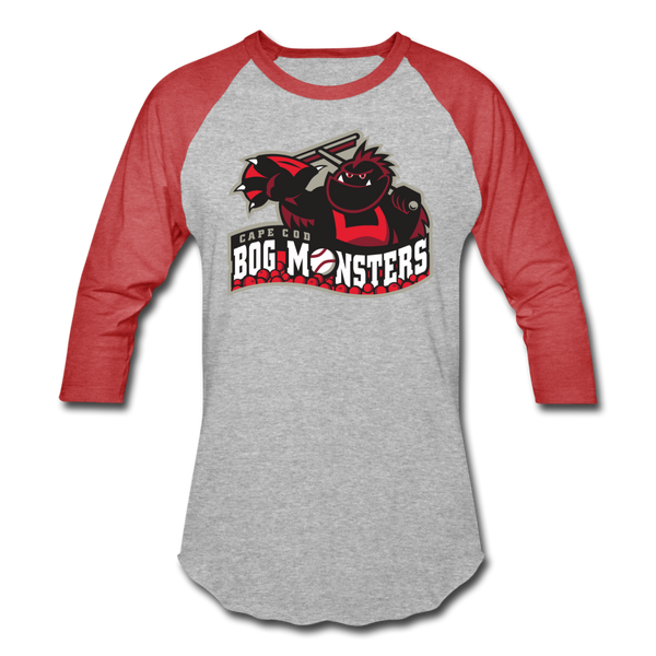 Cape Cod Bog Monsters Unisex Baseball T-Shirt - heather gray/red