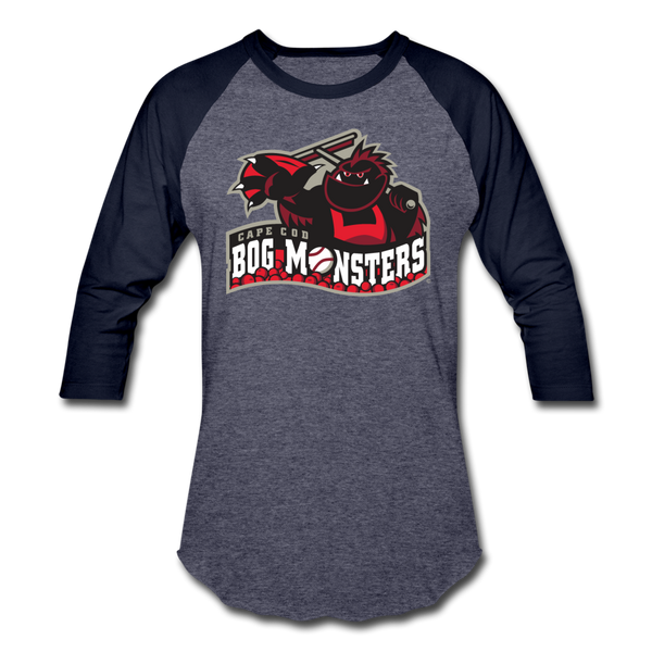 Cape Cod Bog Monsters Unisex Baseball T-Shirt - heather blue/navy