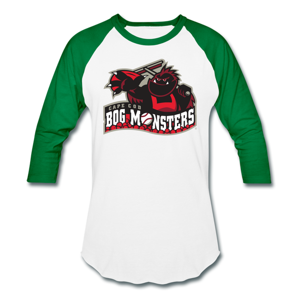 Cape Cod Bog Monsters Unisex Baseball T-Shirt - white/kelly green