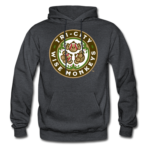 Tri-City Wise Monkeys Heavy Blend Adult Hoodie - charcoal gray