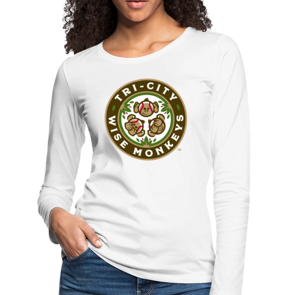 Tri-City Wise Monkeys Women's Long Sleeve T-Shirt - white