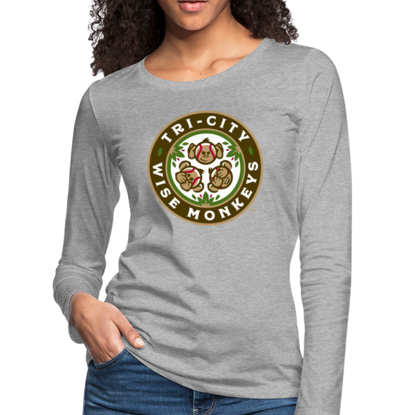 Tri-City Wise Monkeys Women's Long Sleeve T-Shirt - heather gray