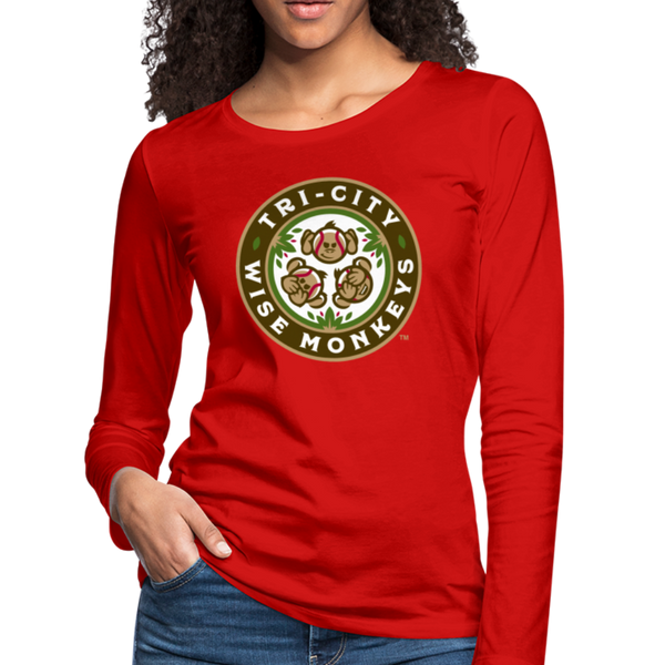 Tri-City Wise Monkeys Women's Long Sleeve T-Shirt - red