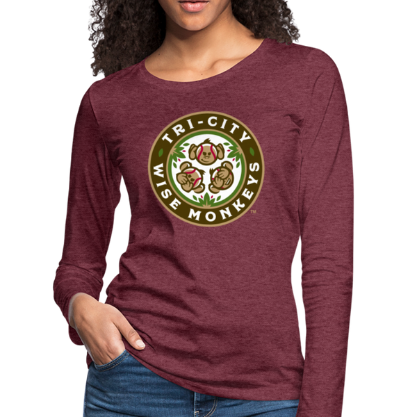 Tri-City Wise Monkeys Women's Long Sleeve T-Shirt - heather burgundy
