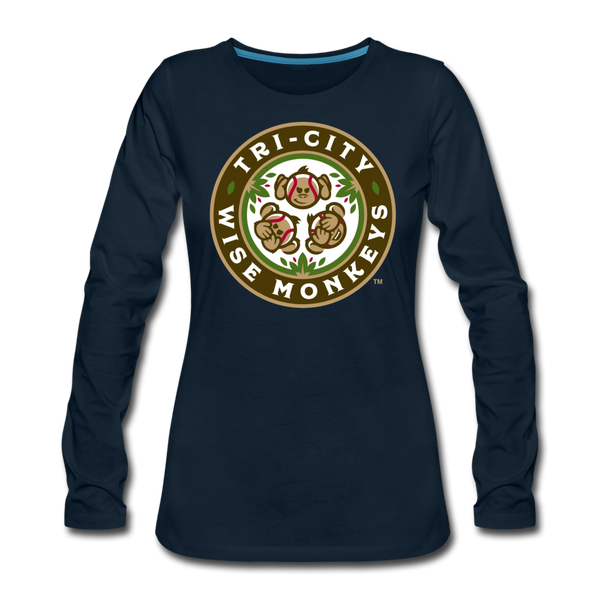 Tri-City Wise Monkeys Women's Long Sleeve T-Shirt - deep navy