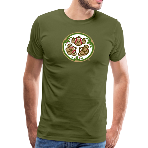 Tri-City Wise Monkeys Men's Premium T-Shirt - olive green