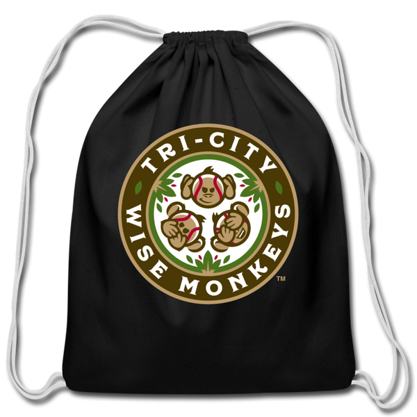 Tri-City Wise Monkeys Cotton Drawstring Bag - black