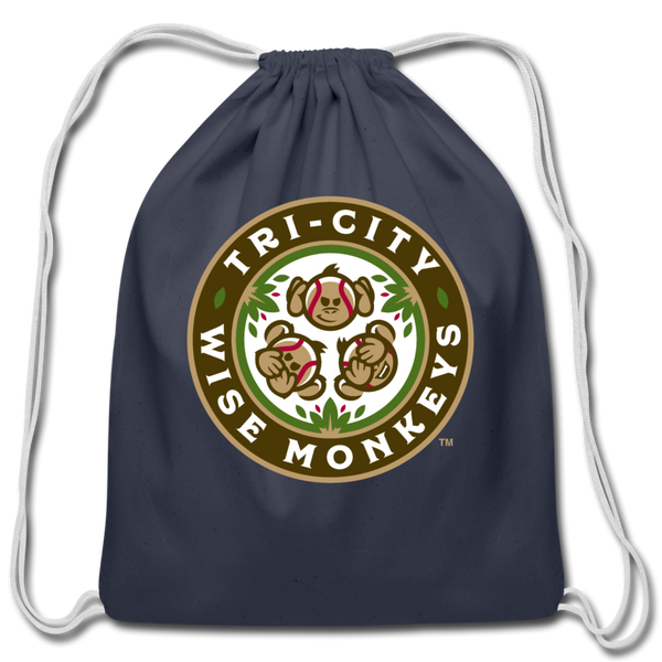 Tri-City Wise Monkeys Cotton Drawstring Bag - navy