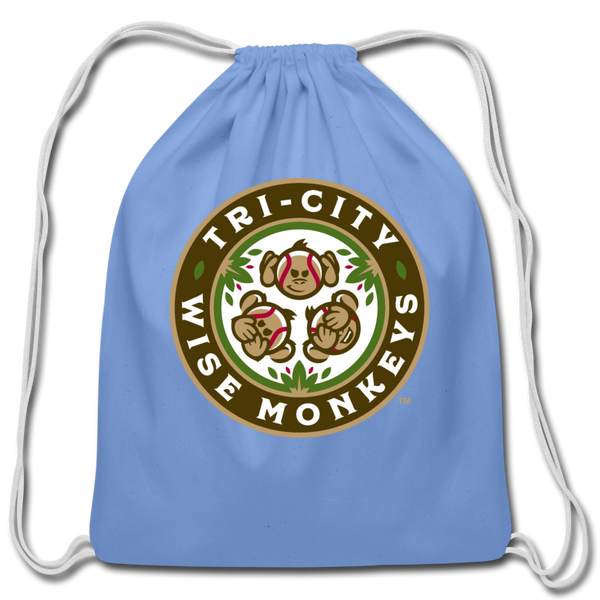 Tri-City Wise Monkeys Cotton Drawstring Bag - carolina blue
