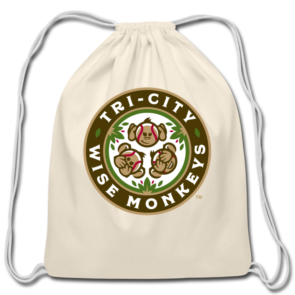 Tri-City Wise Monkeys Cotton Drawstring Bag - natural
