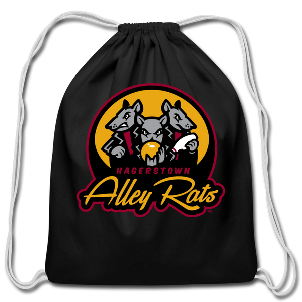 Hagerstown Alley Rats Cotton Drawstring Bag - black