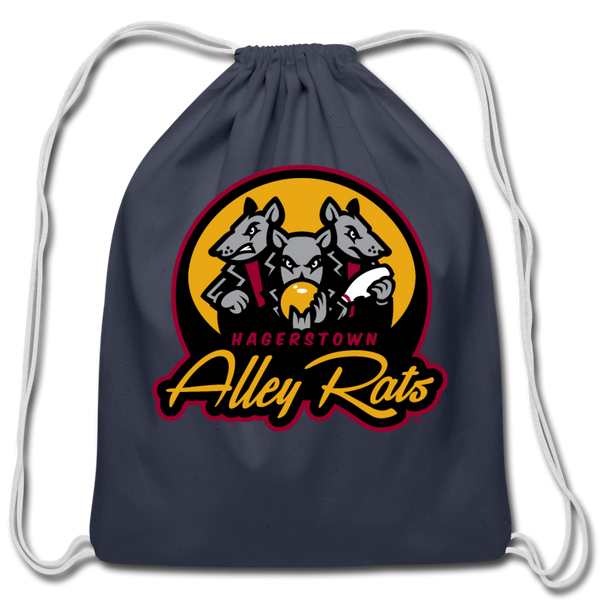 Hagerstown Alley Rats Cotton Drawstring Bag - navy