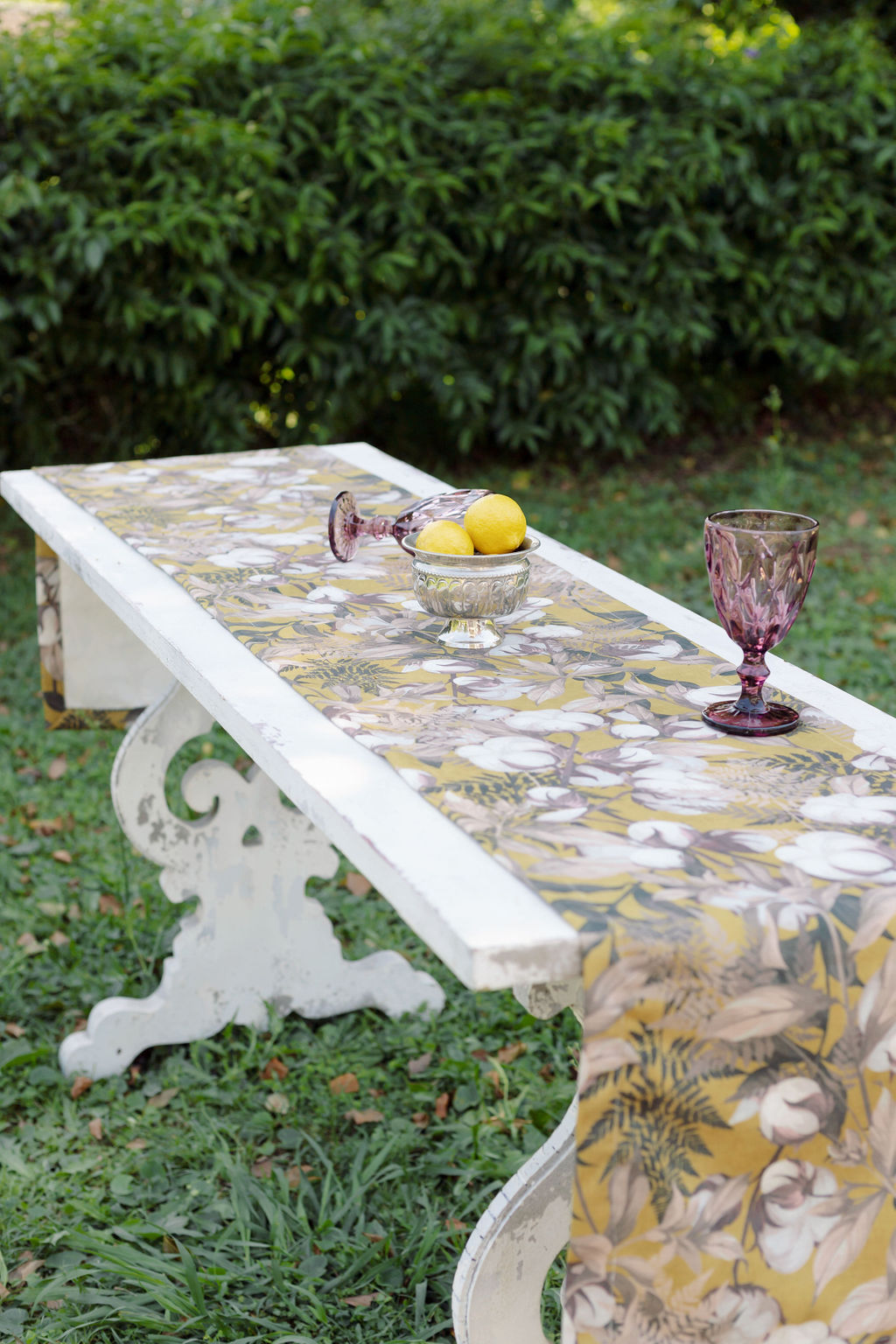 Floral Table Runner (Mustard Yellow)