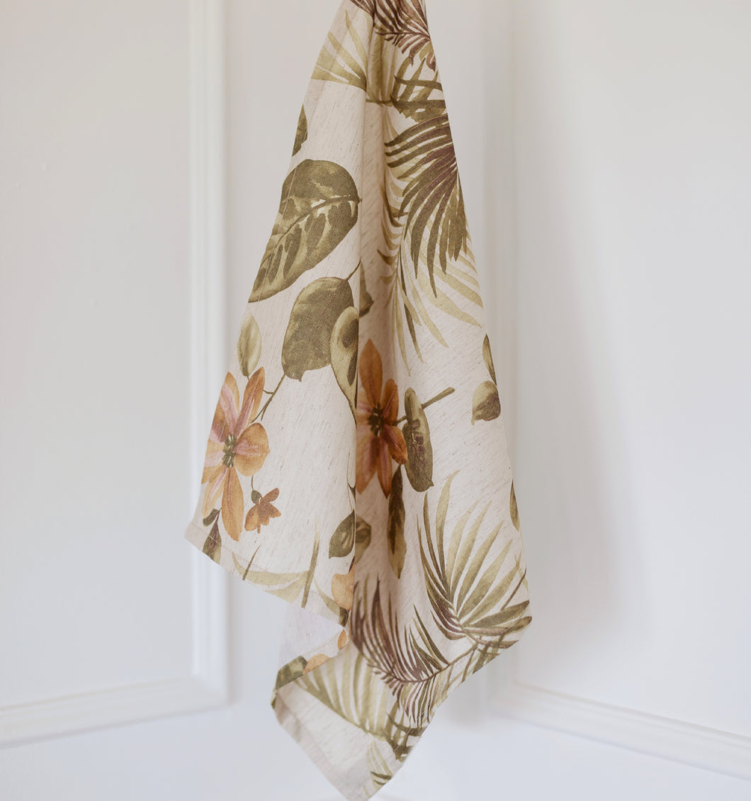 Sand Floral Tea Towel
