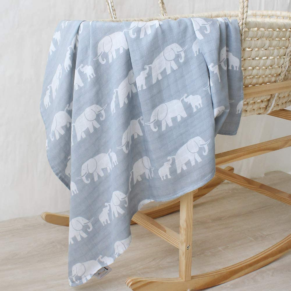 Gray Elephant Muslin Swaddle Blanket