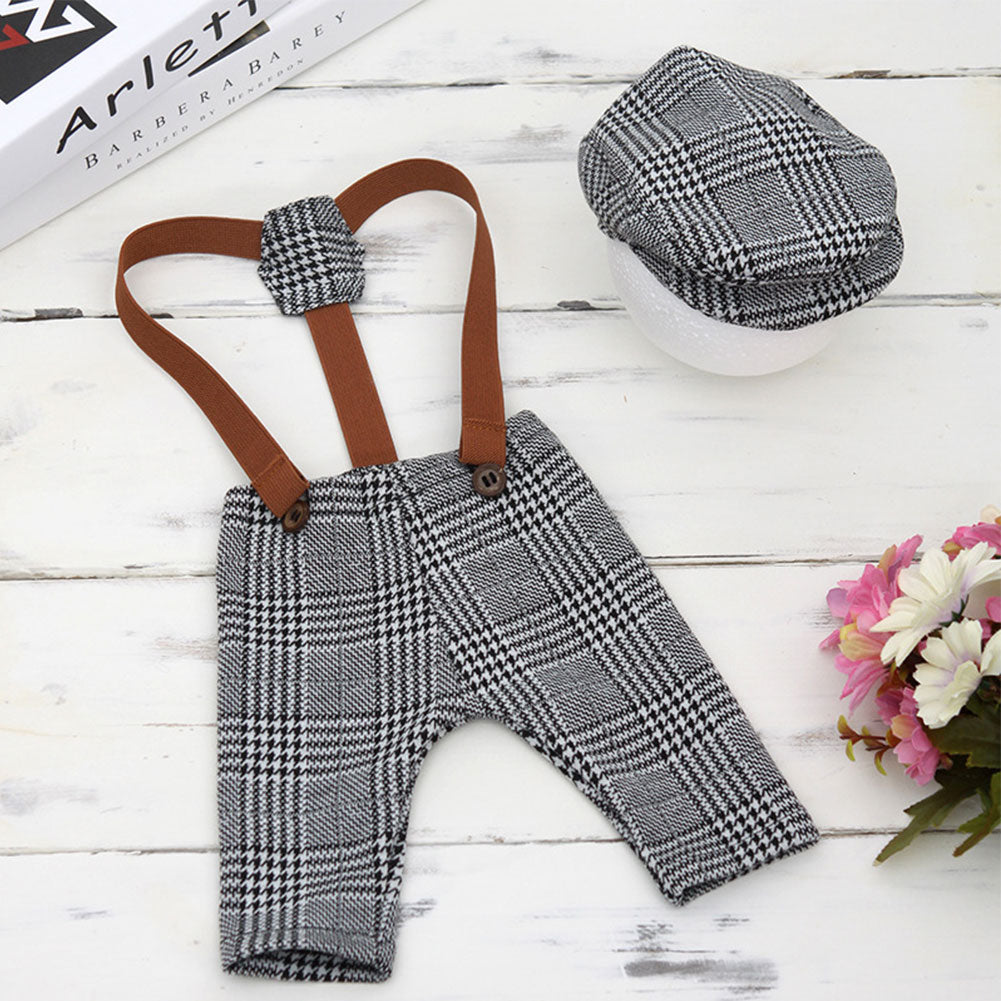 2Pcs Baby Newborn Retro Plaid Suspender Pants Peaked Cap Set Photograph Props