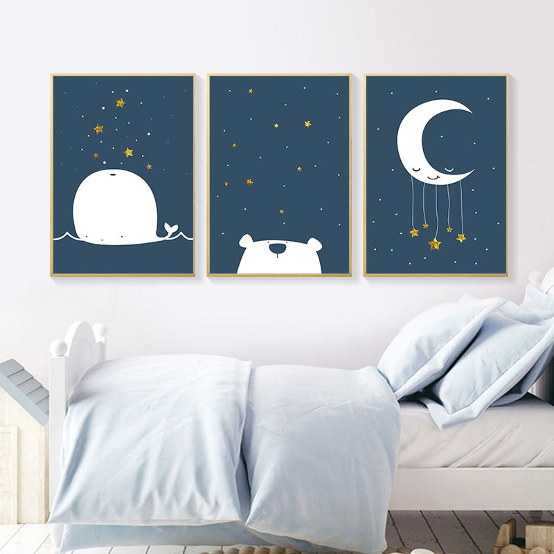 Baby Nursery Canvas Poster Cartoon Whale