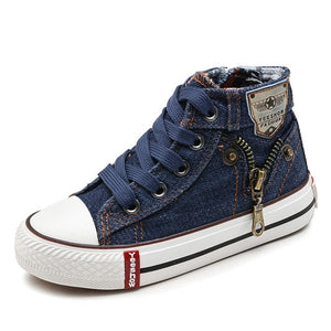 Canvas Jeans Boys Denim Boot Side Zipper