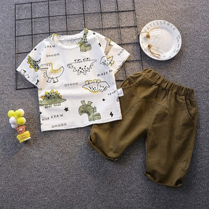 1-5 years Boy Cotton Cartoon Dinosaur T-shirt + Pants Outfits
