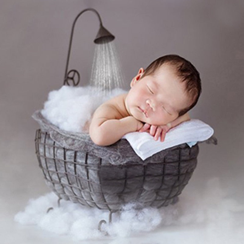 Newborn/infant Baby Photo Props Iron Basket Shower Bathtub