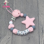 Load image into Gallery viewer, Personalized Name Handmade Pacifier Clips, Silicone Pacifier Chains, Five Star Baby Teething Chain