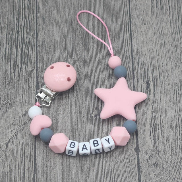 Personalized Name Handmade Pacifier Clips, Silicone Pacifier Chains, Five Star Baby Teething Chain
