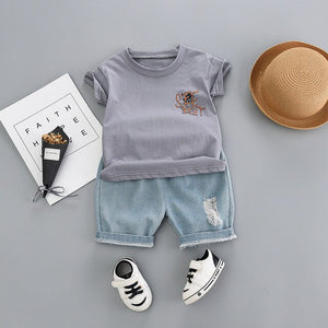 Toddler Boys Cartoon Top and Shorts  Denim Outfits