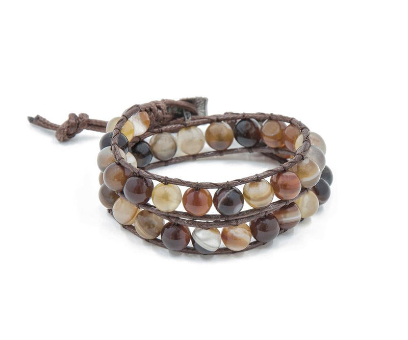 PIED MEXICAN AGATE HAND-STITCHED DOUBLE WRAP BRACELET 8MM