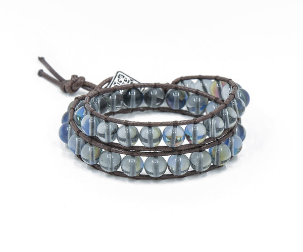 OPAL HAND-STITCHED WRAP BRACELET 8MM