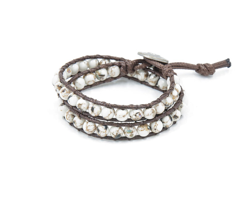 PEARL SHELL HAND-STITCHED DOUBLE WRAP BRACELET 6MM