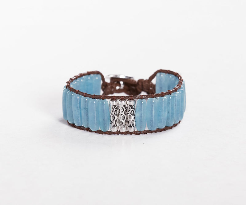 BLUE JADE WITH SILVER HAND-STITCHED WRAP BRACELET