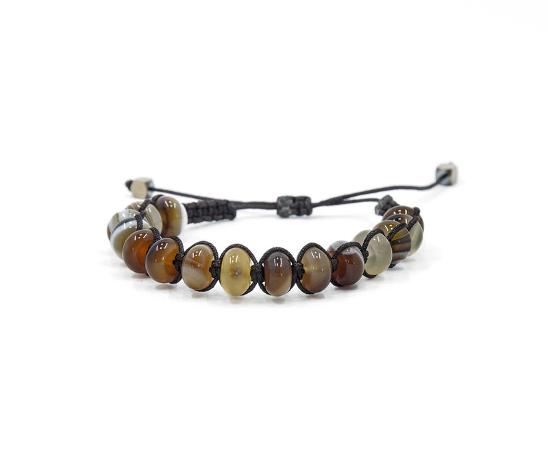 AGATE MADAGASCAR YELLOW-BROWN HAND-KNITTED BRACELET