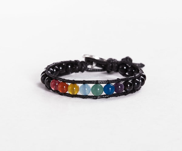 CHAKRA ALIGNER WITH ONYX HAND-STITCHED WRAP BRACELET 8MM