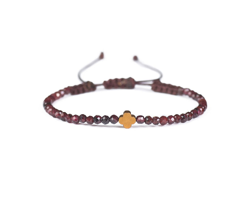 GARNET WITH ROSE FLOWER HAND-KNITTED ANKLET
