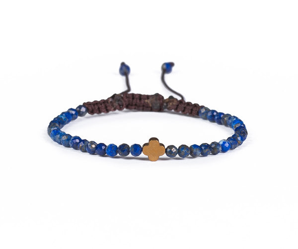 LAPIS LAZULI WITH ROSE FLOWER HAND-KNITTED 3MM