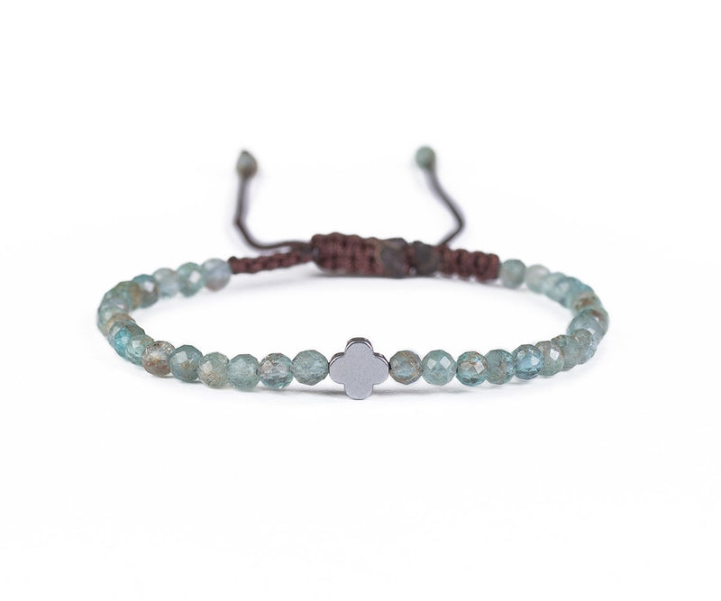 AQUAMARINE WITH SILVER FLOWER HAND-KNITTED BRACELET