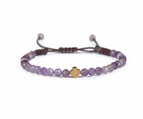 AMETHYST WITH ROSE FLOWER HAND-KNITTED BRACELET