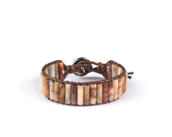 MOOKAITE JASPER HAND-STITCHED LONG BEADS WRAP BRACELET