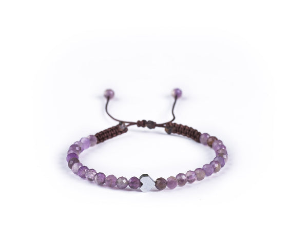 AMETHYST WITH SILVER HEART HAND-KNITTED BRACELET