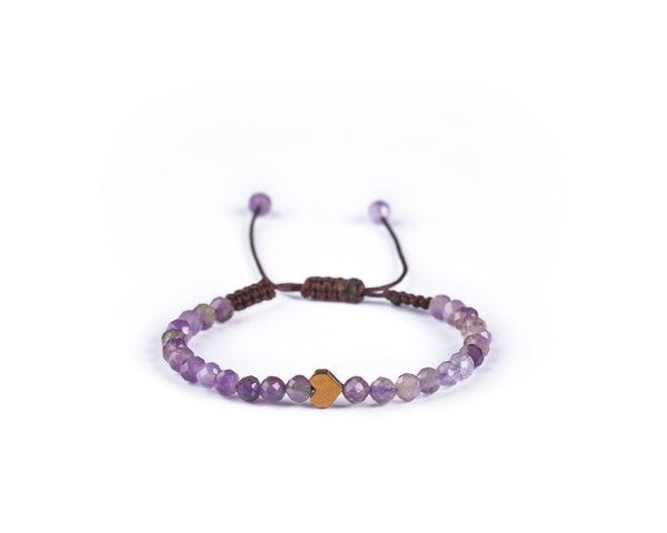 AMETHYST WITH ROSE HEART HAND-KNITTED BRACELET