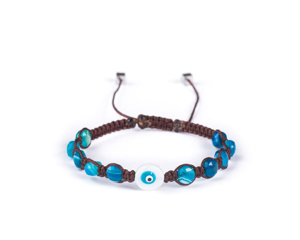 MADAGASCAR BLUE AGATE WITH EVIL EYE HAND-KNITTED BRACELET