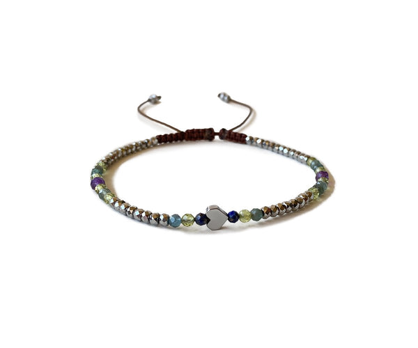 HEMATITE WITH HEART HAND-KNITTED ANKLET