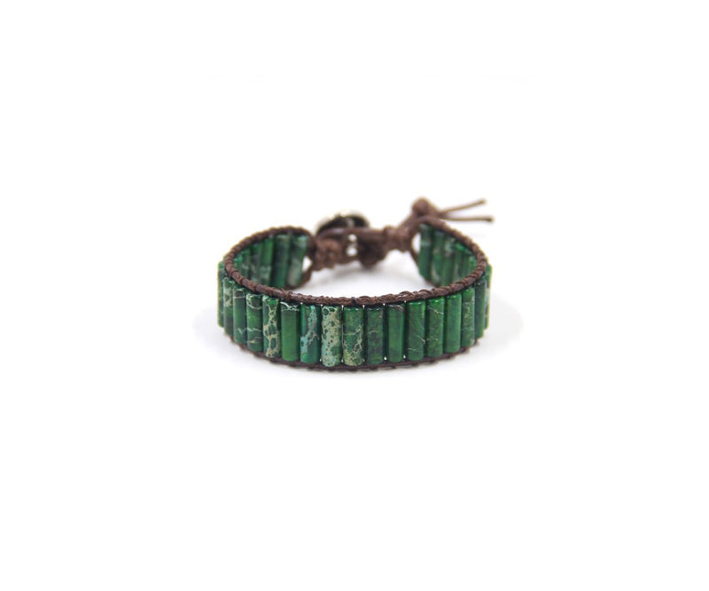 JASPER LONG-GREEN HAND-STITCHED WRAP BRACELET