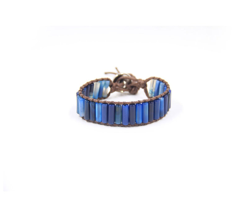 AGATE MIDNIGHT BLUE LONG BEAD HAND-STITCHED WRAP BRACELET