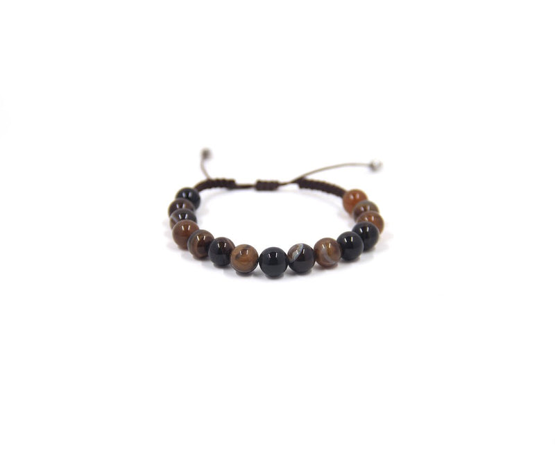 KENYAN AGATE BROWN MEN'S 6MM HAND-KNITTED BRACELET